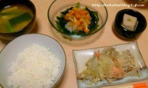 葱味噌汁、鮭ホイル焼き、おろしなめこ、ゴマ豆腐。