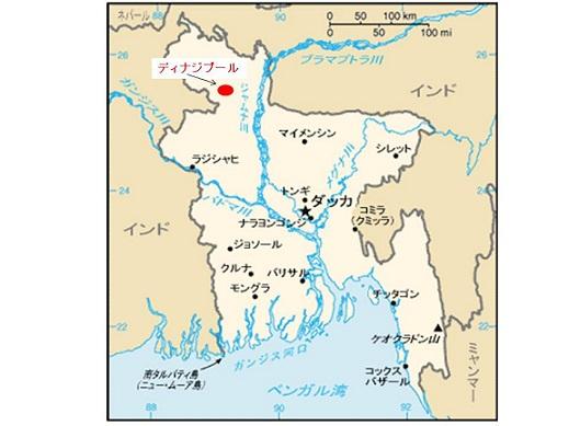 バングラデシュ地図(ディナジプール)