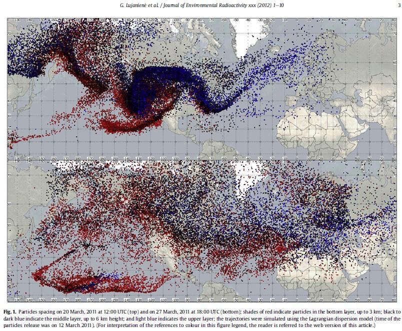リトアニア大気中のフクシマ事故由来の核種:測定とモデリング・アプローチ  世界拡散汚染マップ