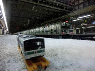 新宿駅停車中のハエ28編成とのコラボ写真