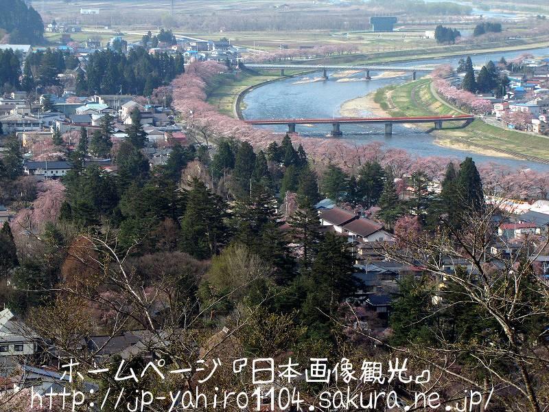 秋田・古城公園から見た角館武家屋敷