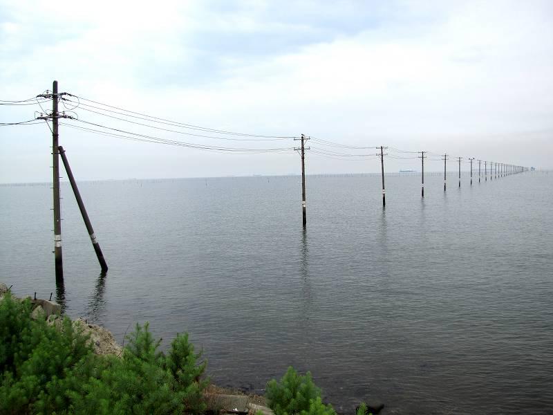 千葉・海の中に立ち並ぶ電柱1