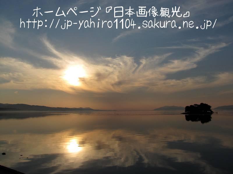 島根・松江名物、宍道湖に沈む夕日1