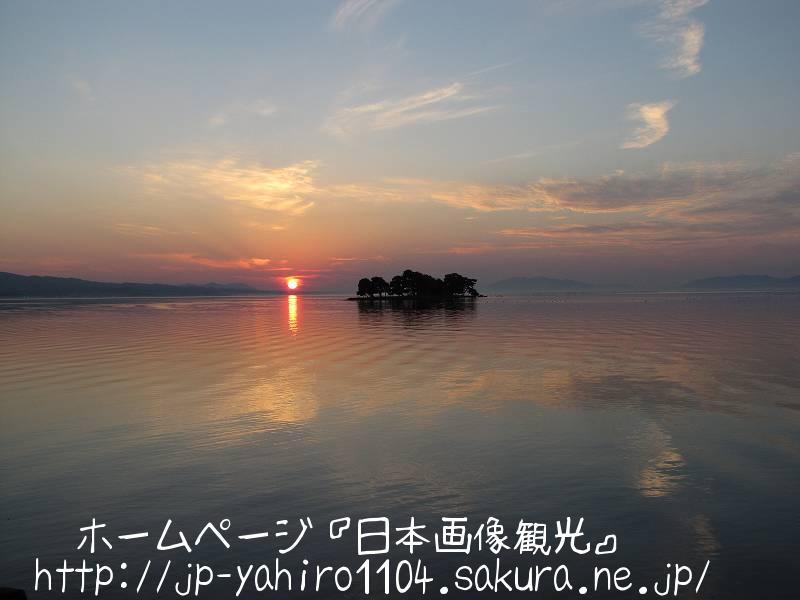 島根・松江名物、宍道湖に沈む夕日3