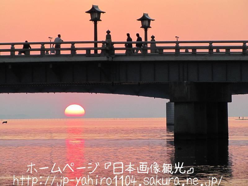 島根・松江市街の松江大橋と夕日2