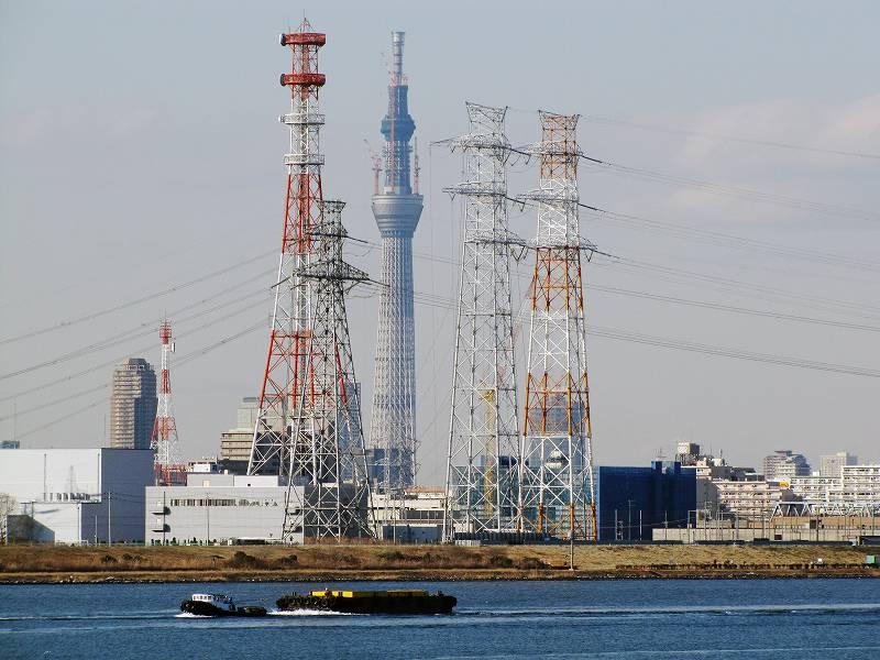 東京・荒川河口から見たスカイツリーと鉄塔群