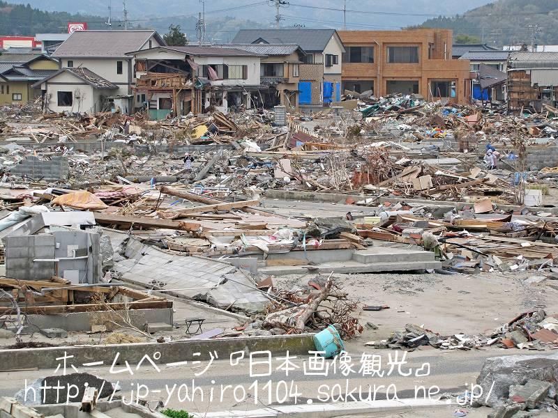 福島・壊滅的な被害、いわき市久ノ浜