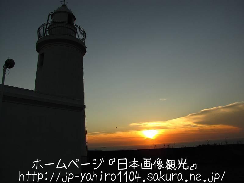 千葉・洲の崎灯台と富士山シルエット付き夕日2