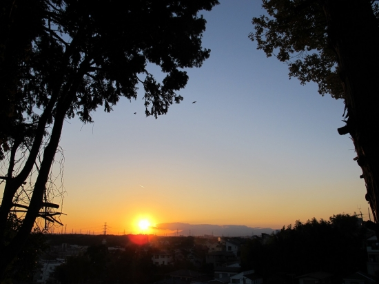 富士山が見えない夕陽