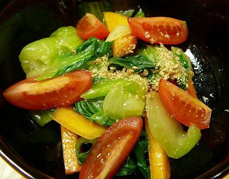 小:青梗菜と柿