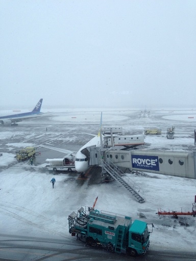 帰りは雪でした。