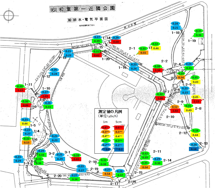 松葉第一近隣公園放射線量マップ