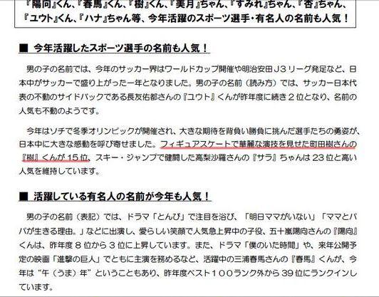 2014.12.1子どもの名前、漢字1字が人気に~14年生まれ。町田樹さんの「樹」くんが15位(オリコン) - Y!ニュース