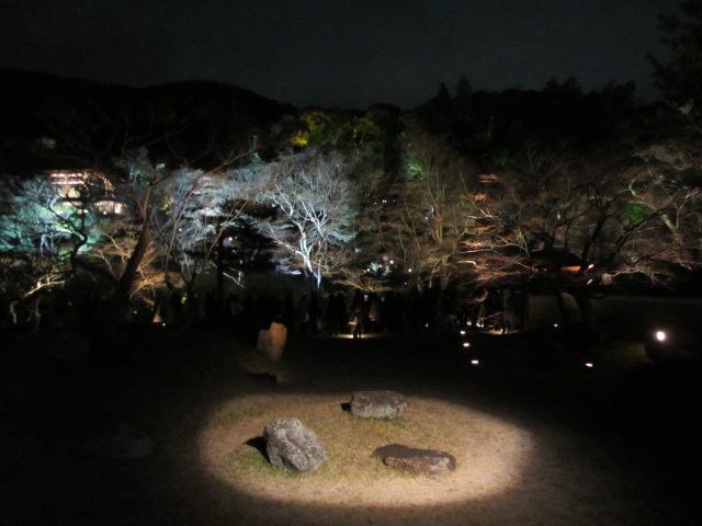 高台寺 方丈から庭園、臥龍池方向(夜)
