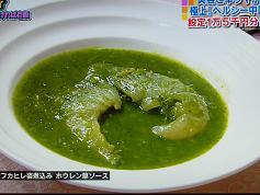 ヨシキリ鮫フカヒレ姿煮込み ホウレン草ソース