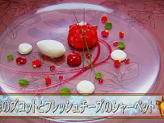 苺のズコットとフレッシュチーズのシャーベット