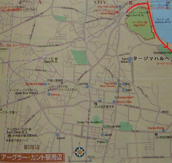 タージマハルへの地図.JPG