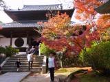 吉備路ツアー小春日に宝福寺 紅葉をバックにして、