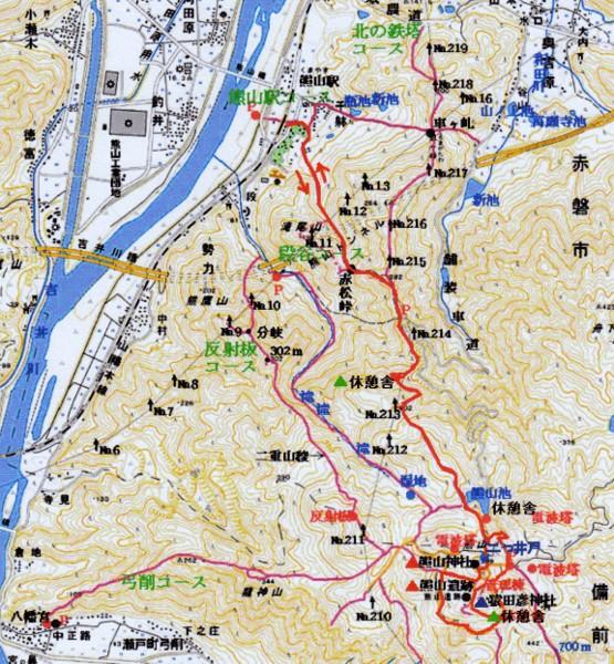 初回 熊山登山 駅コース地図 拡大可