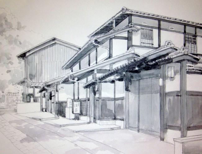嵯峨野の道3 モノクロ (650x496)