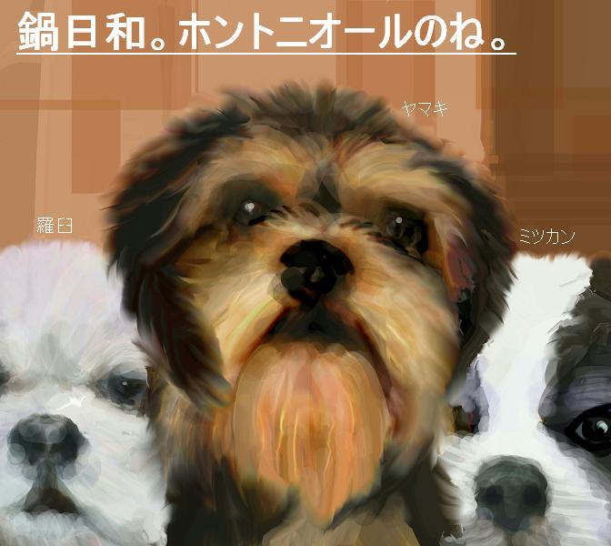 犬絵 鍋トリオ