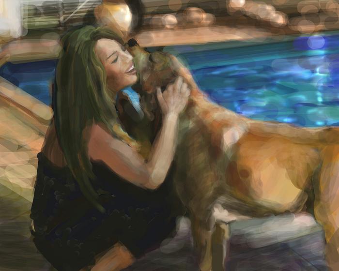 犬絵 プールサイド 700