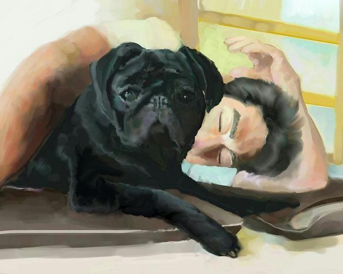 犬絵 寝てます修正700