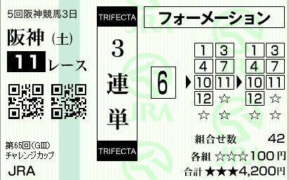 阪神11R 3連単はずれ
