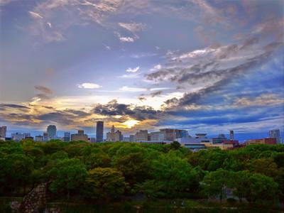 大阪城からの夕焼け