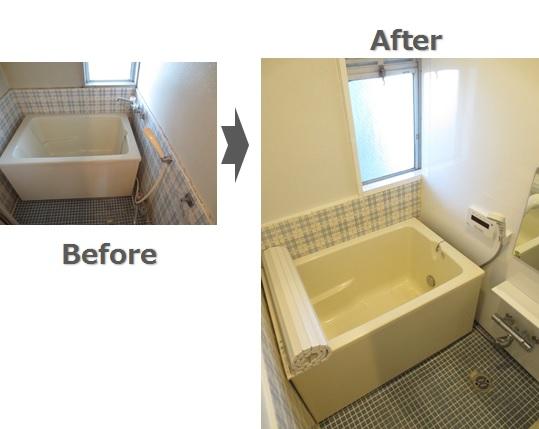浴室を追い焚き給湯へ。パネル貼り、水栓交換も