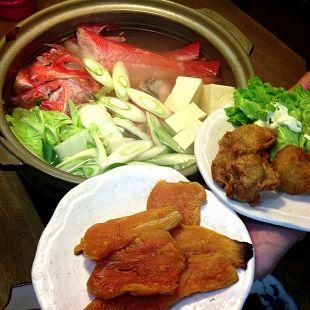 金目鯛の鍋のご飯