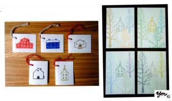 Houseset&木々の向こうに教会 サイン