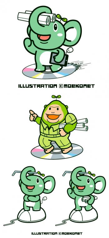 キャラクターデザイン/ゾウさんの動物イラスト