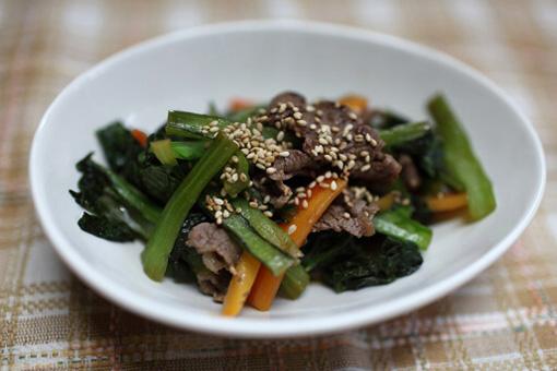 牛肉と小松菜のニンニク醤油炒め