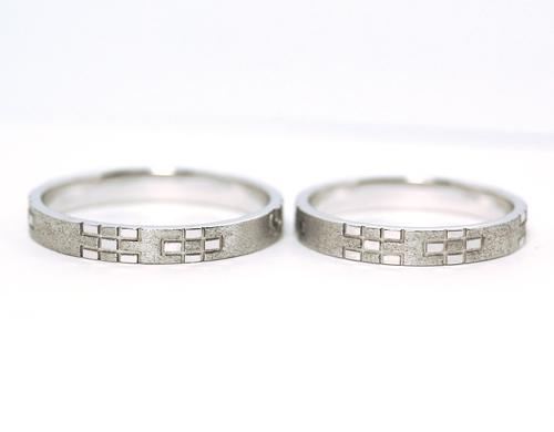 沖縄縁起物結婚指輪ミンサー柄ウンスー1