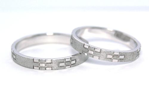 沖縄縁起物結婚指輪ミンサー柄ウンスー2