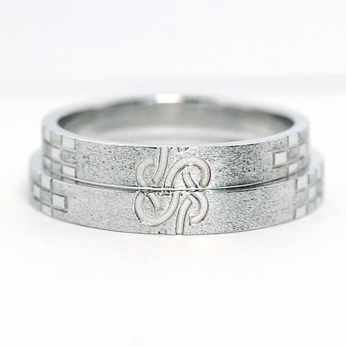 沖縄縁起物結婚指輪ミンサー柄ウンスー3