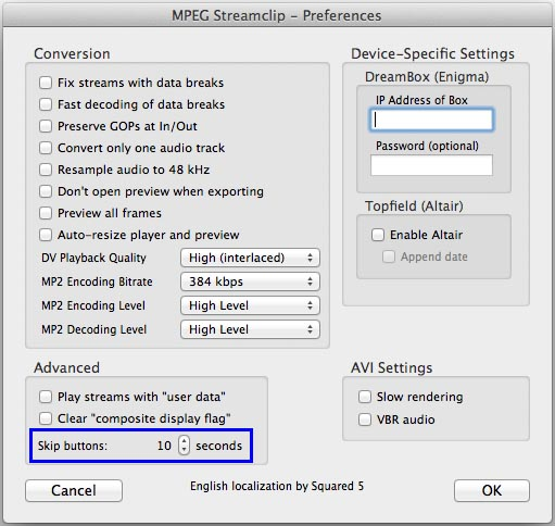 MPEG Streamclip Preferences