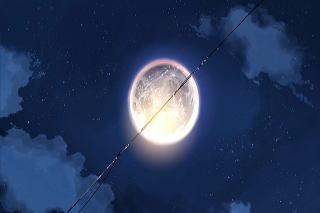 電線が分断する月