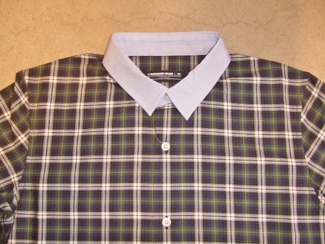 MDY CHAMBRAY COLLAR CHECK SHIRT GREEN FT1