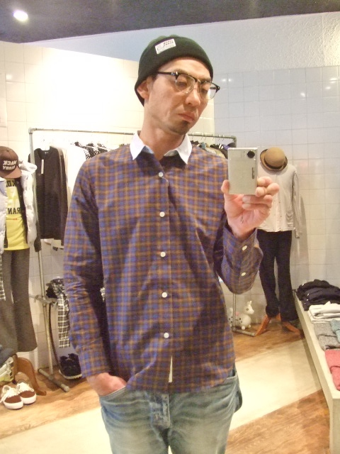 MDY CHAMBRAY COLLAR CHECK SHIRT ST