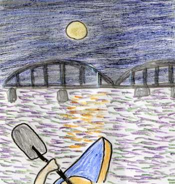 月夜のカヌー