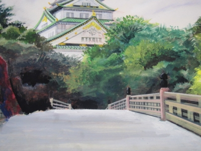 橋の表面に絵具を置いて