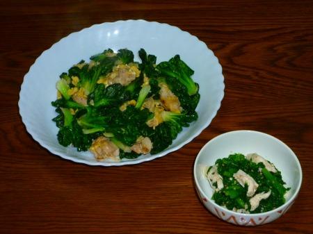 タアサイと豚玉子炒め ・ わさび菜とササミ和え物