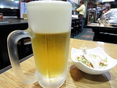 生ビールと付け出し
