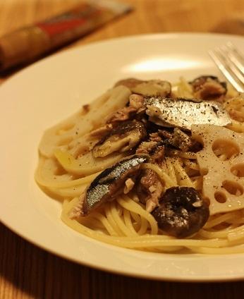 秋刀魚と蓮根の柚子胡椒ペペロンチーノ