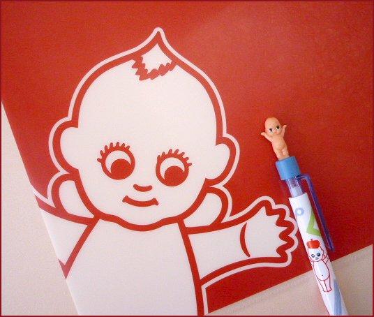 QP赤ファイルとボールペン+枠