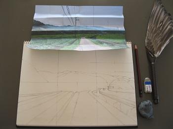 水彩画の描き方 下描き2