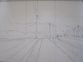 水彩画の描き方 下描き3