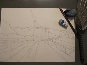 水彩画の描き方 下描き4